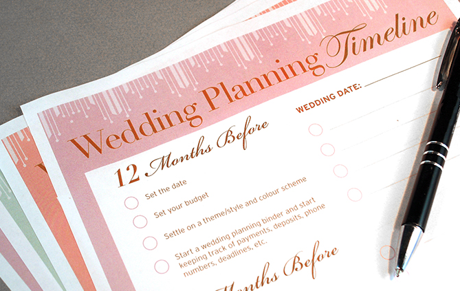 Sequence of events to plan your wedding